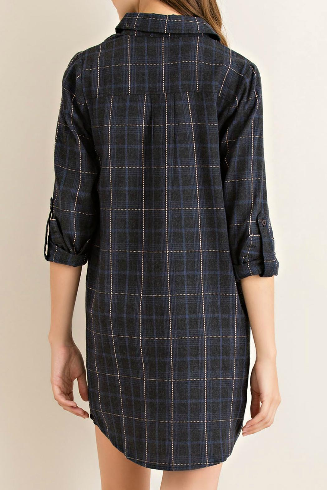 Entro Charcoal Plaid Tunic - Side Cropped Image
