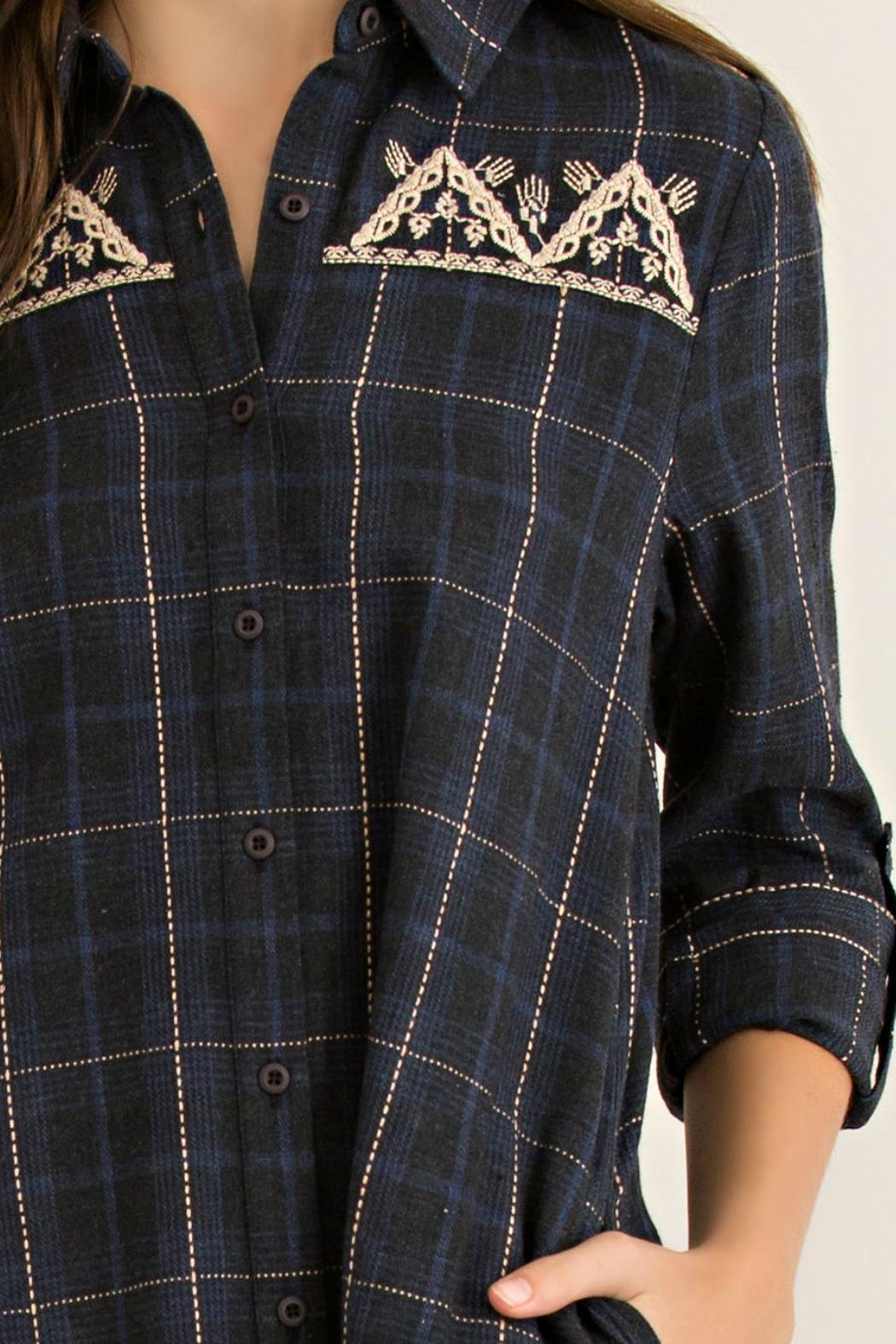 Entro Charcoal Plaid Tunic - Front Cropped Image