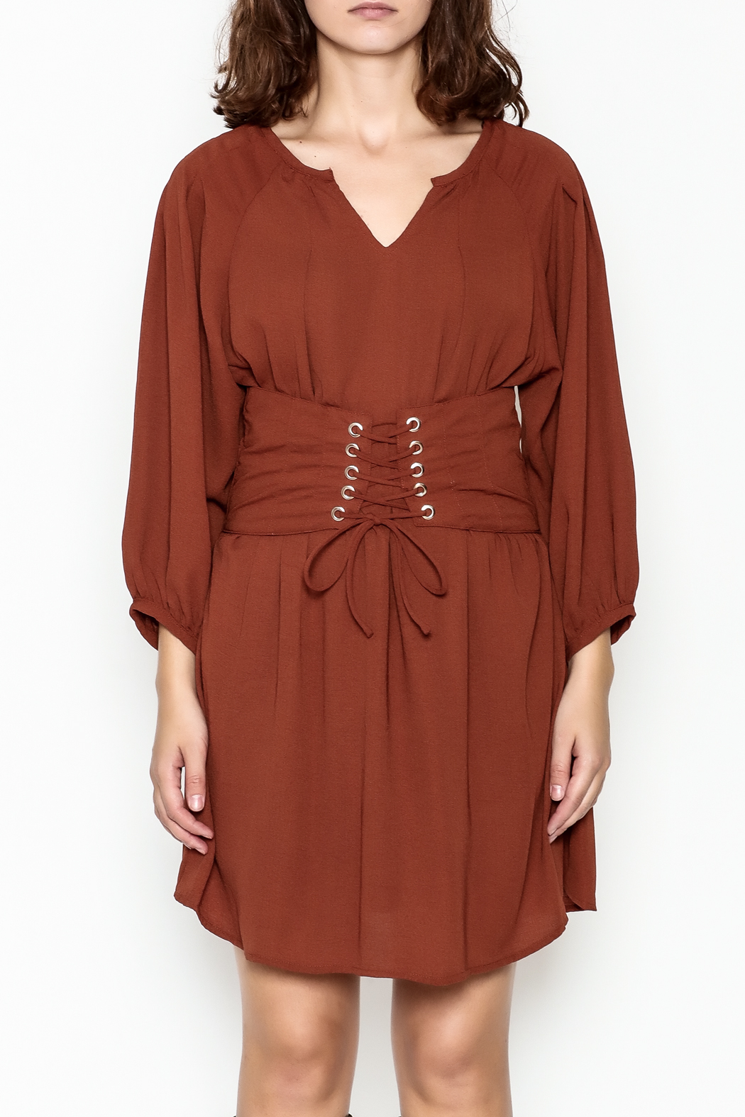 Entro Cinnamon Cinch Dress - Front Full Image