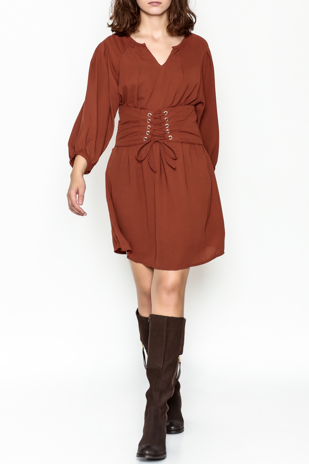 Entro Cinnamon Cinch Dress - Side Cropped Image