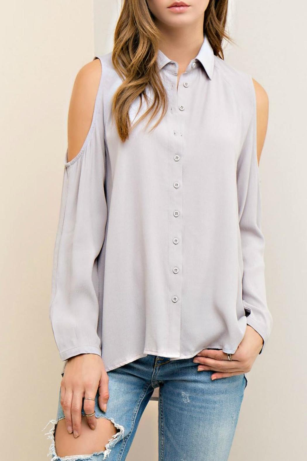 Entro Cold Shoulder Button Up - Front Cropped Image