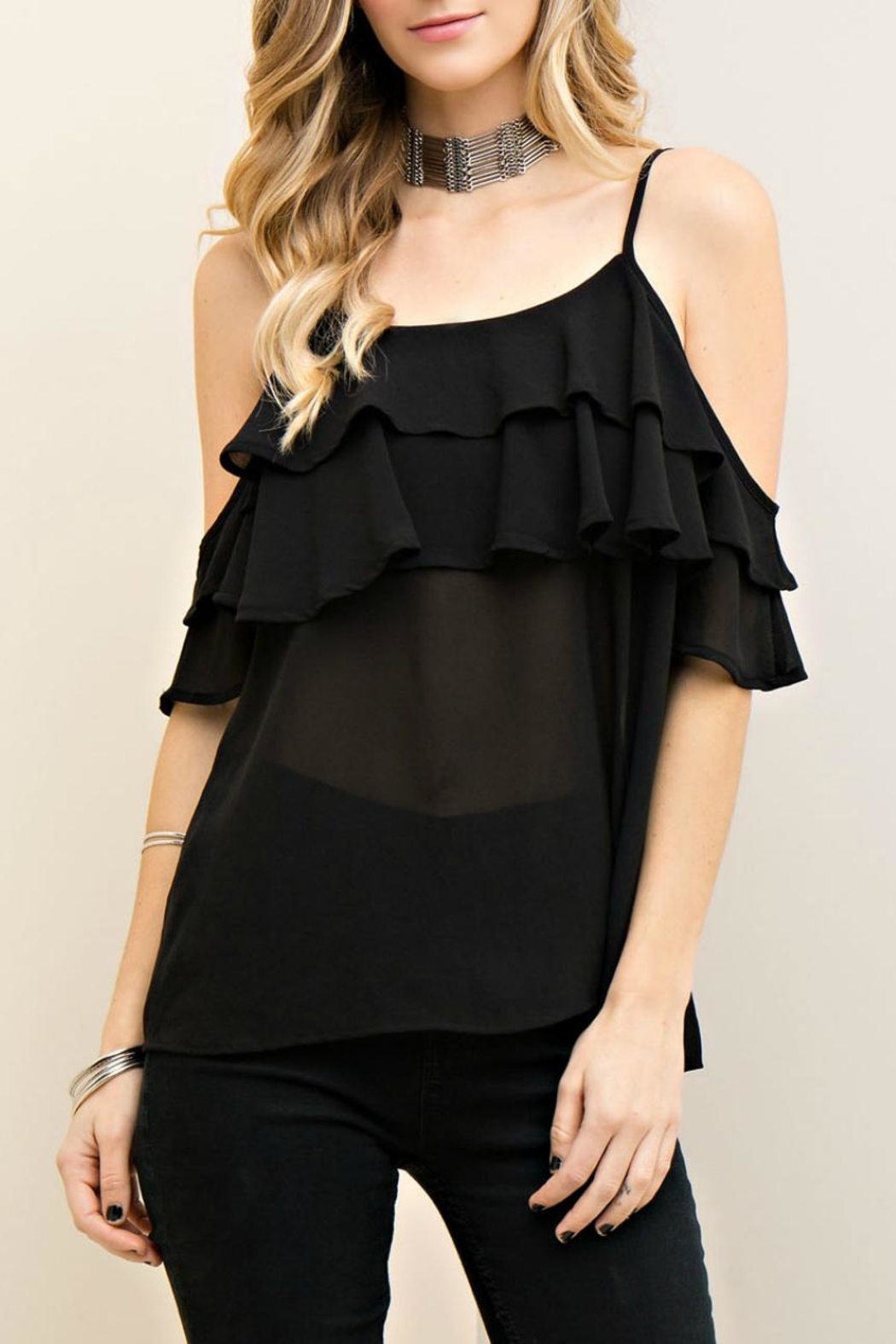 Entro Cold Shoulder Ruffle Top - Main Image