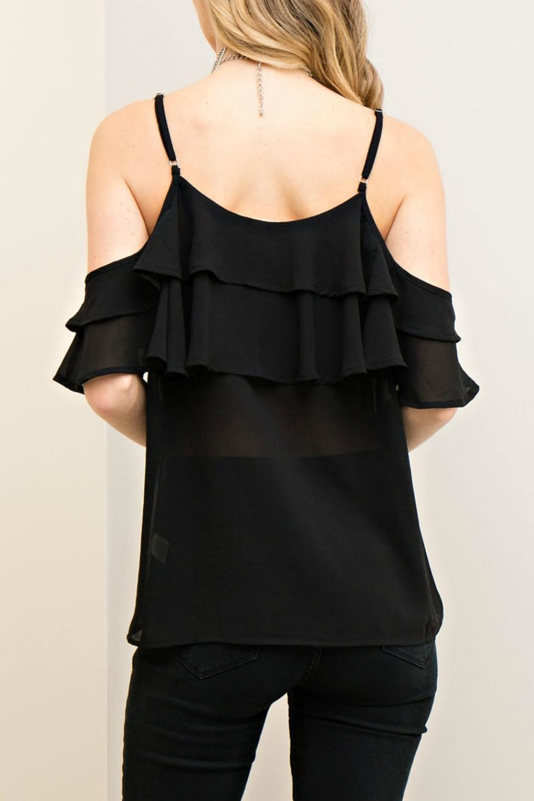 Entro Cold Shoulder Ruffle Top - Front Full Image