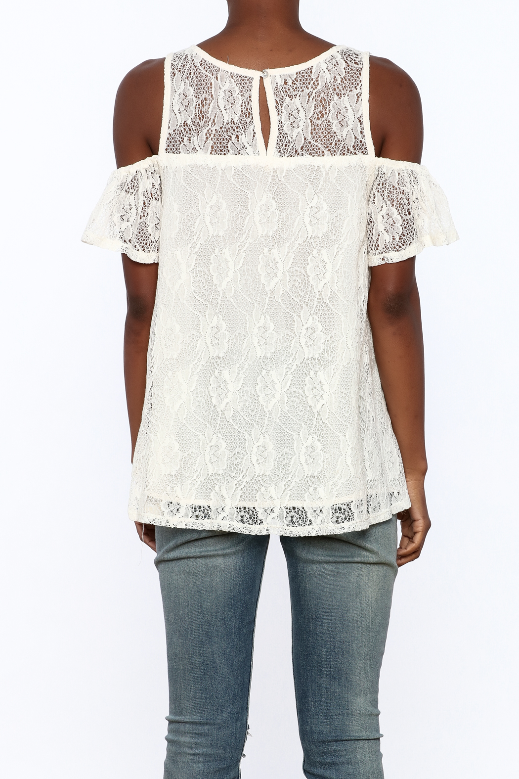Entro Cream Lace Top - Back Cropped Image
