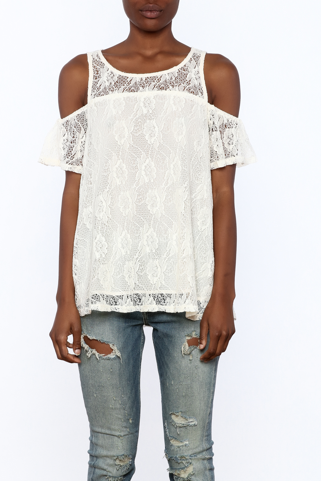 Entro Cream Lace Top - Side Cropped Image