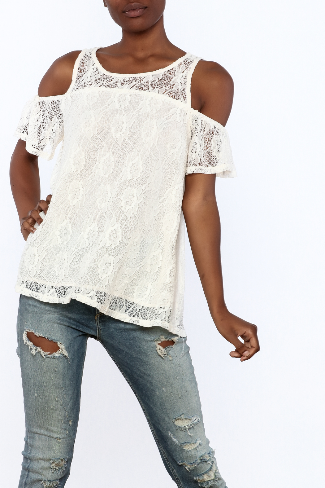 Entro Cream Lace Top - Front Cropped Image