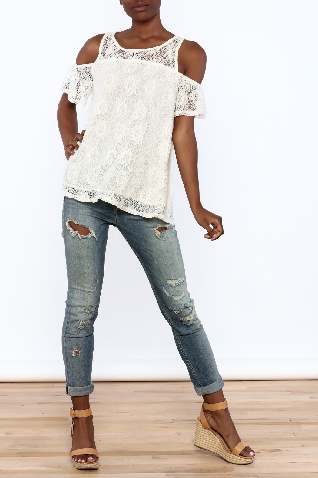 Entro Cream Lace Top - Front Full Image