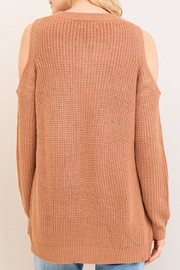 Entro Cold-Shoulder Lace-Up Sweater - Front full body