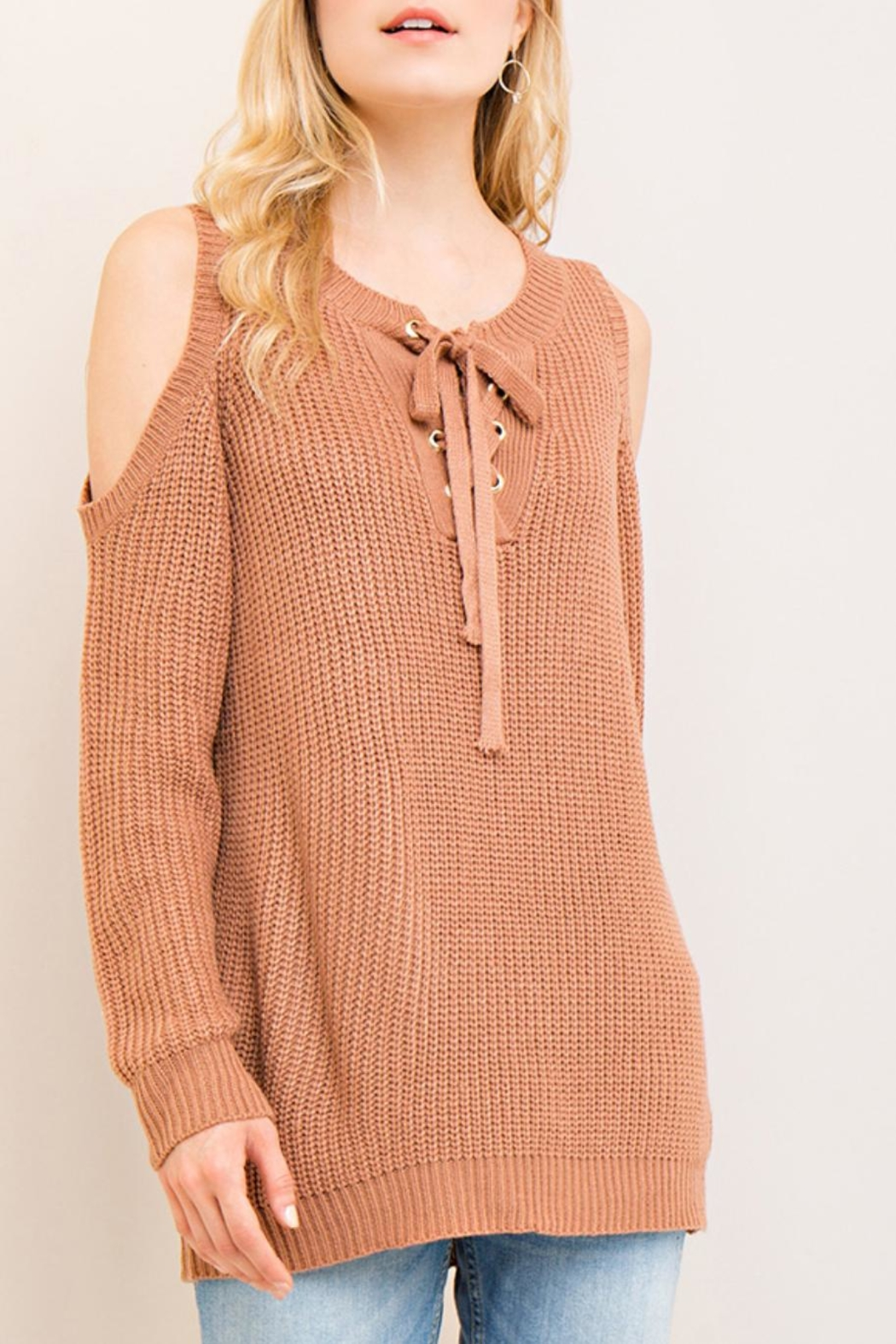 Entro Cold-Shoulder Lace-Up Sweater - Side Cropped Image