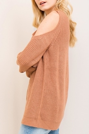 Entro Cold-Shoulder Lace-Up Sweater - Back cropped