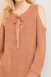 Entro Cold-Shoulder Lace-Up Sweater - Other