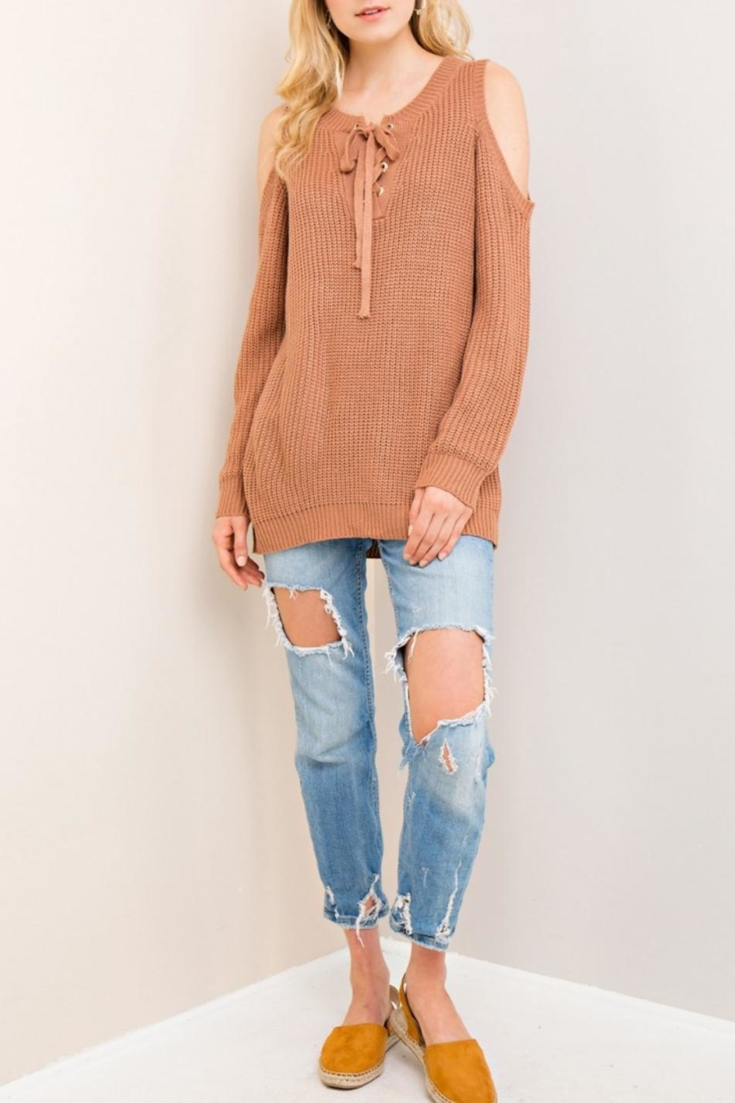 Entro Cold-Shoulder Lace-Up Sweater - Front Cropped Image