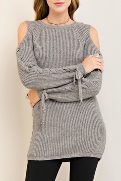 Shoptiques Product: Cold Lace Up Sweater