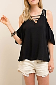 Entro Cold Shoulder V Neck Top - Product Mini Image