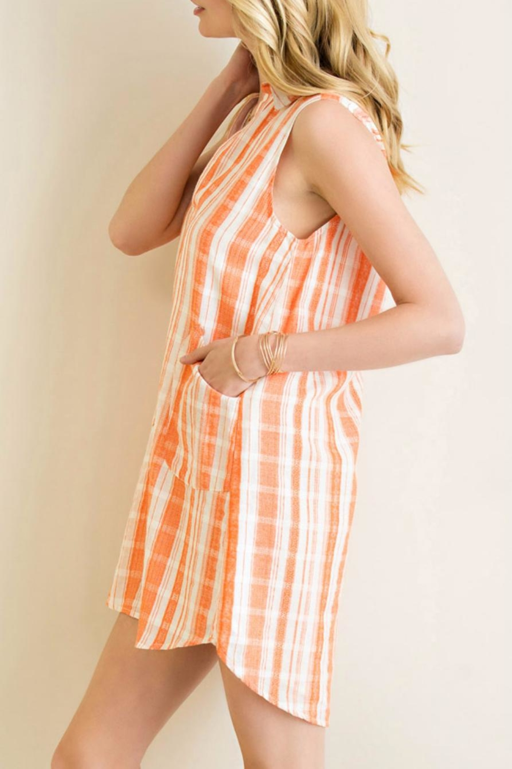 Entro Collared T-Shirt Dress - Back Cropped Image