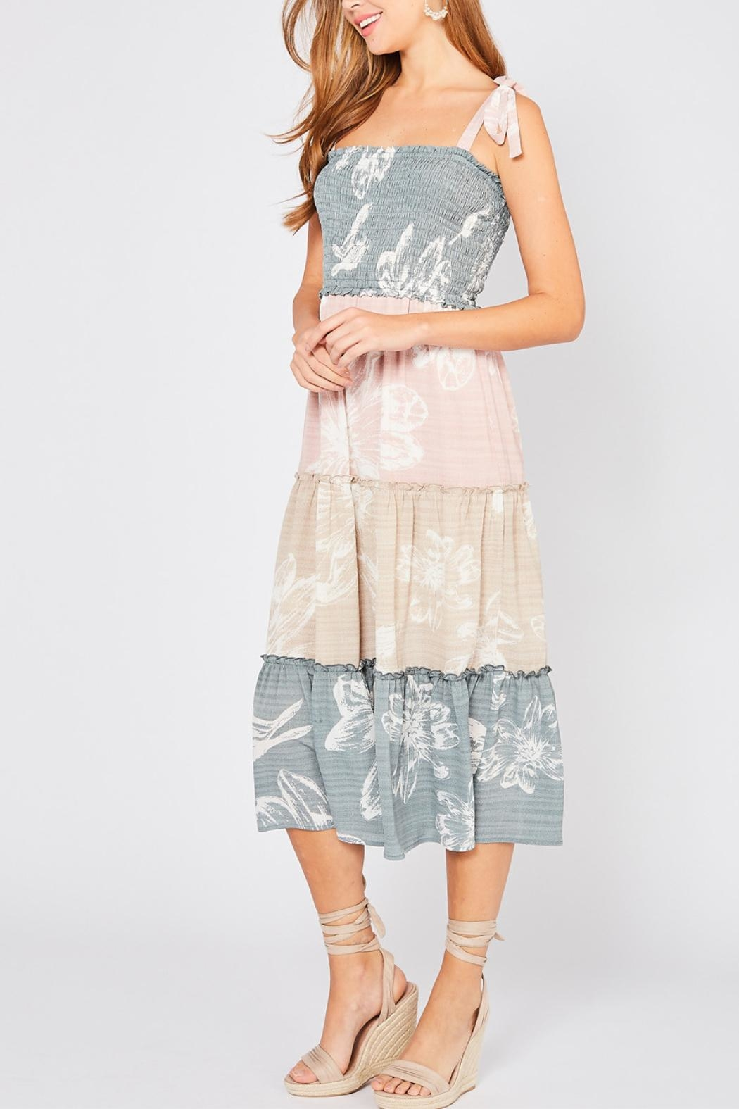 Entro Colorblocked Floral Dress - Front Full Image