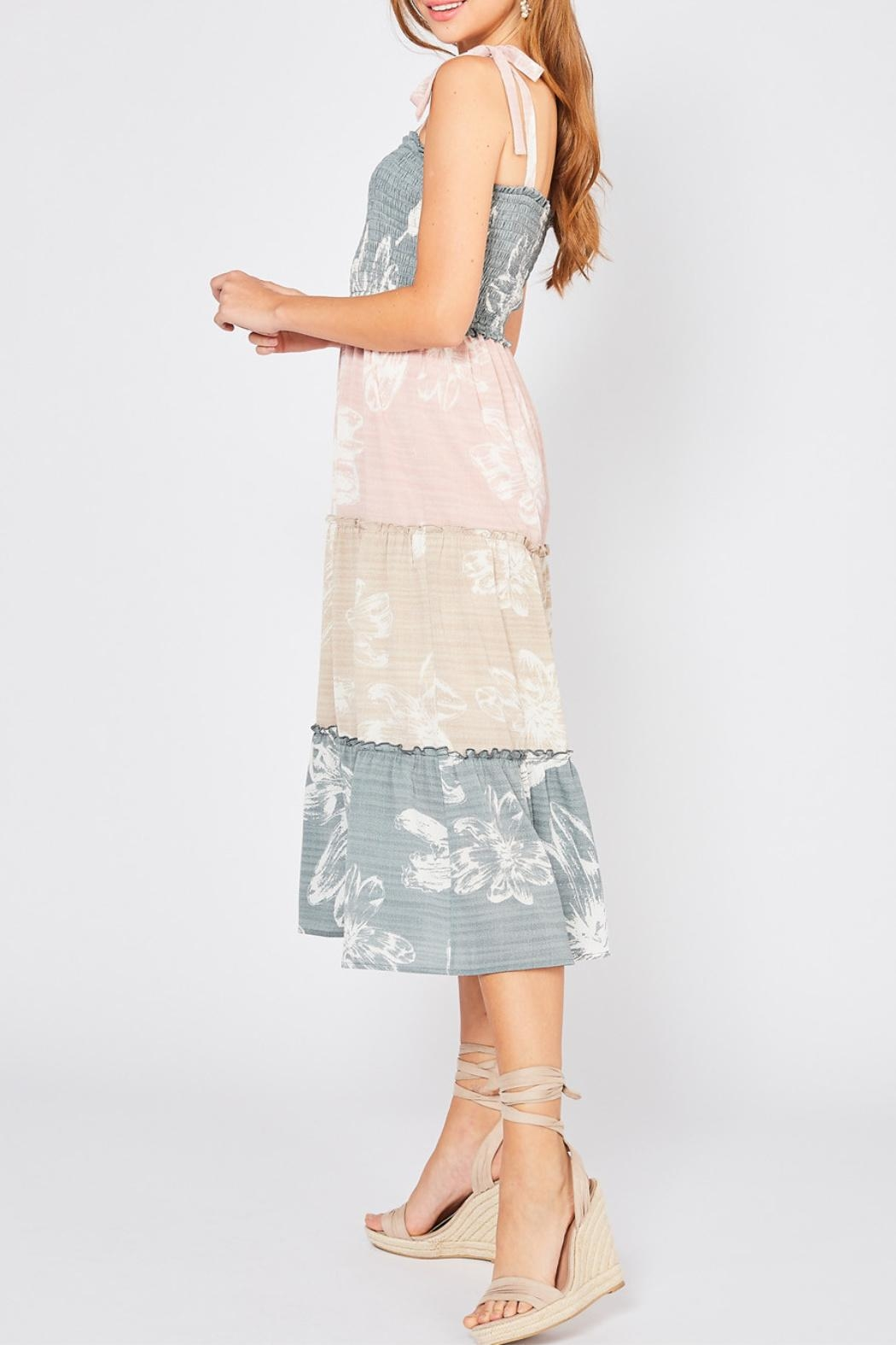 Entro Colorblocked Floral Dress - Side Cropped Image