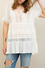 Entro Crinkle Boho-Crochet Top - Front cropped