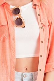 Entro Crinkled Button Down Top - Back cropped