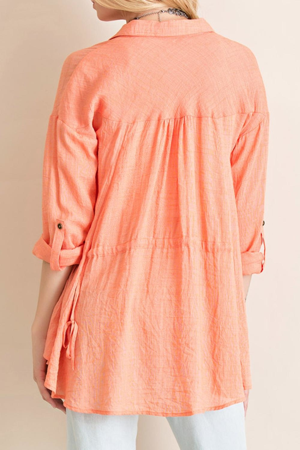 Entro Crinkled Button Down Top - Side Cropped Image