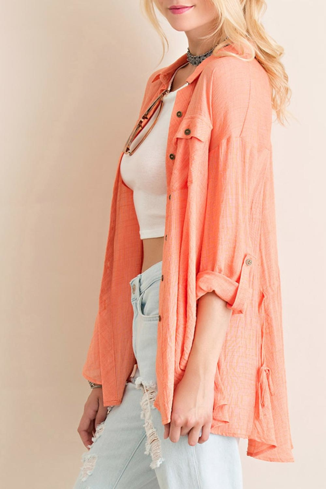 Entro Crinkled Button Down Top - Front Full Image