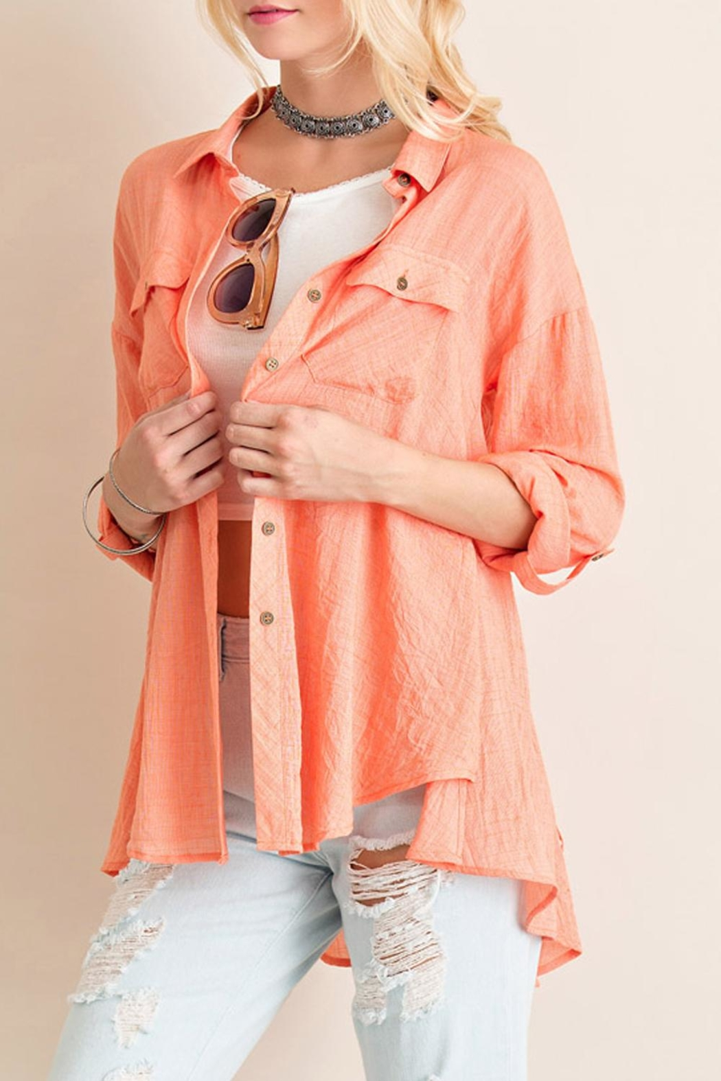 Entro Crinkled Button Down Top - Main Image