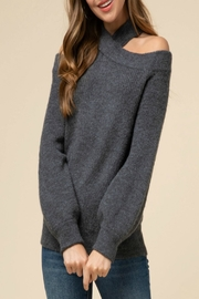 Entro Criss-Cross Cold-Shoulder Sweater - Product Mini Image