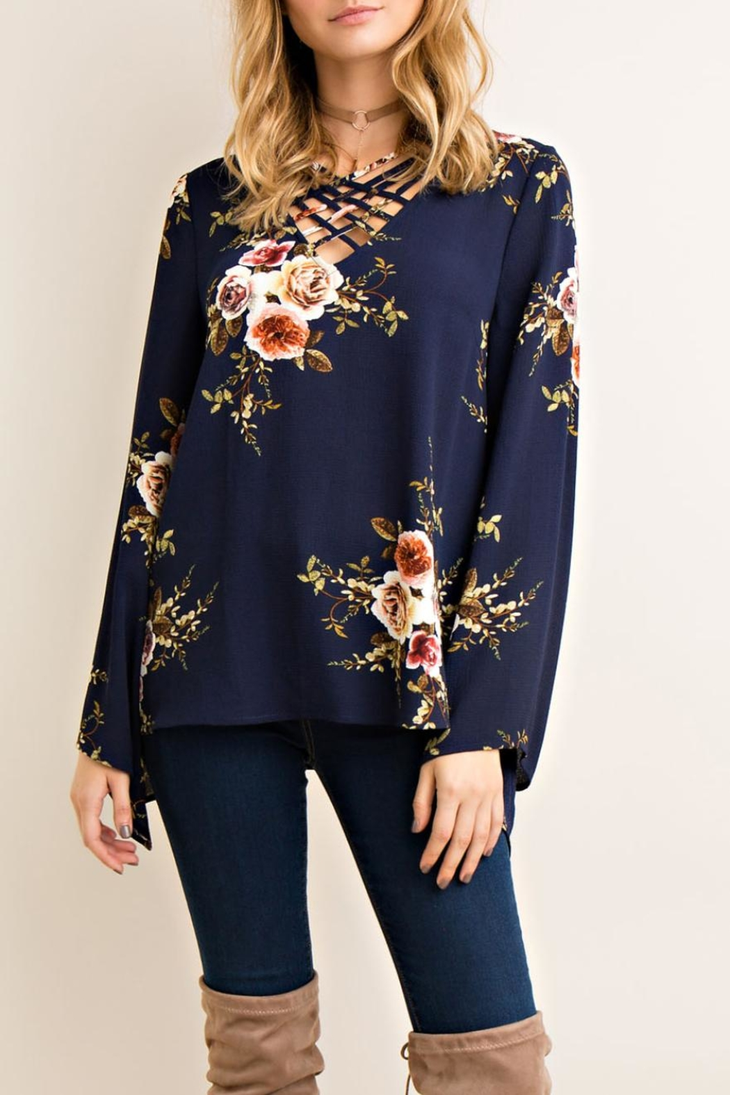 Entro Criss-Cross Floral Top - Front Cropped Image