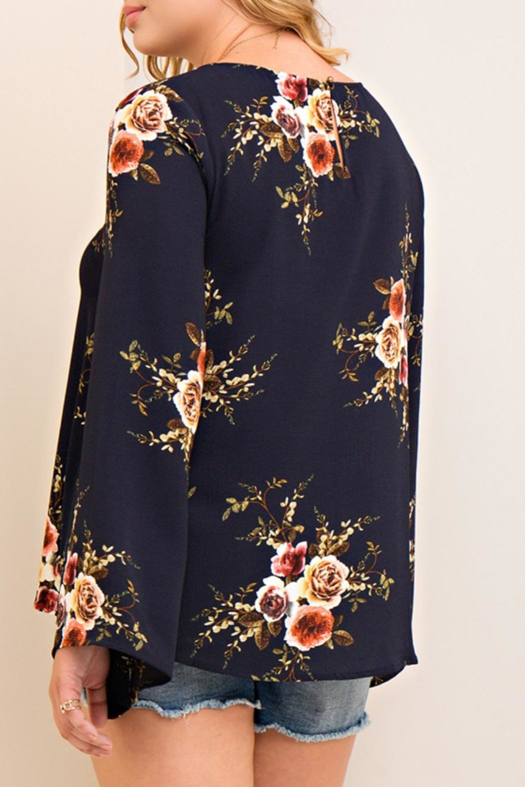 Entro Criss-Cross Floral Top - Front Full Image