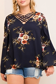 Entro Criss-Cross Floral Top - Product Mini Image