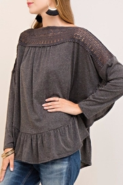 Entro Crochet Ruffle Top - Front cropped