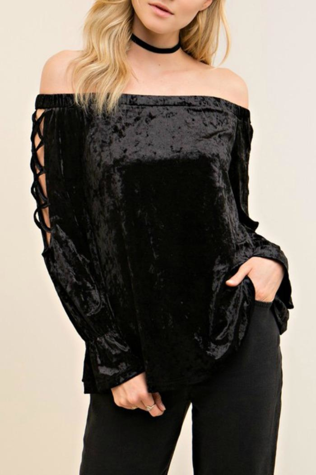 Entro Crushed Velvet Top - Main Image