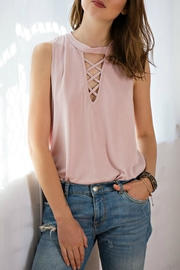 Entro Cutout Lace-Up Top - Product Mini Image