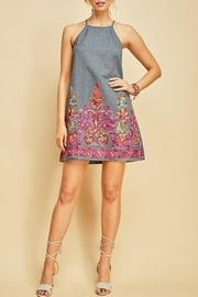 Entro Denim Embroidery Dress - Product Mini Image