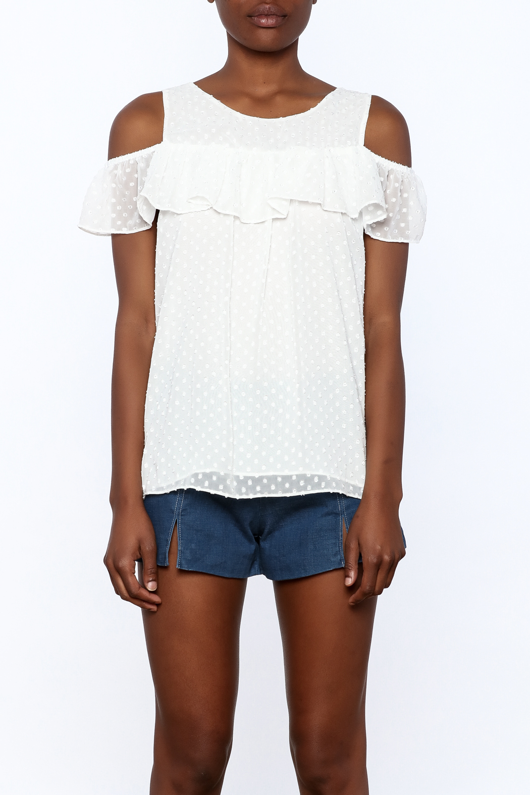 Entro White Dotted Top - Side Cropped Image