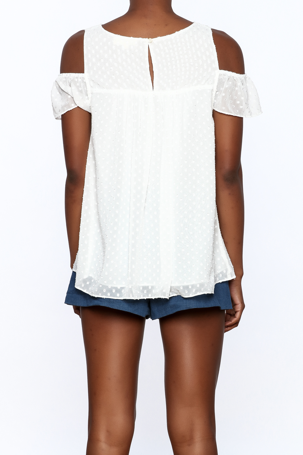 Entro White Dotted Top - Back Cropped Image