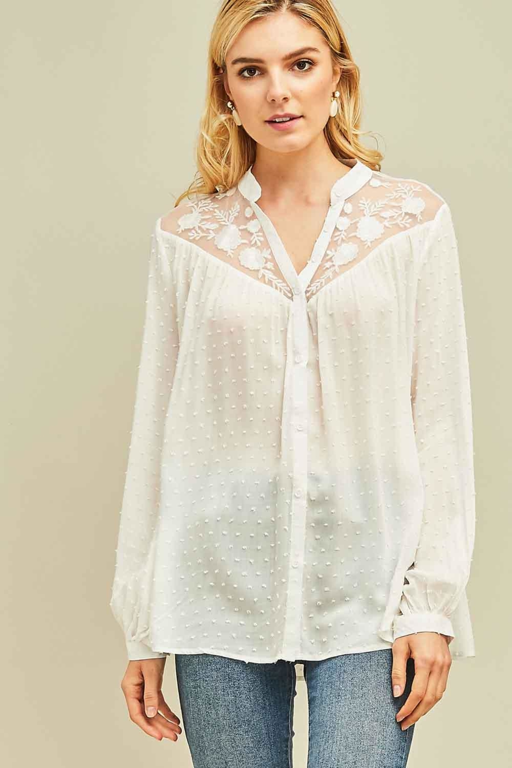 Entro Dotted Swiss Button-Up Top - Front Cropped Image