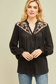Entro Dotted Swiss Button-Up Top - Front cropped