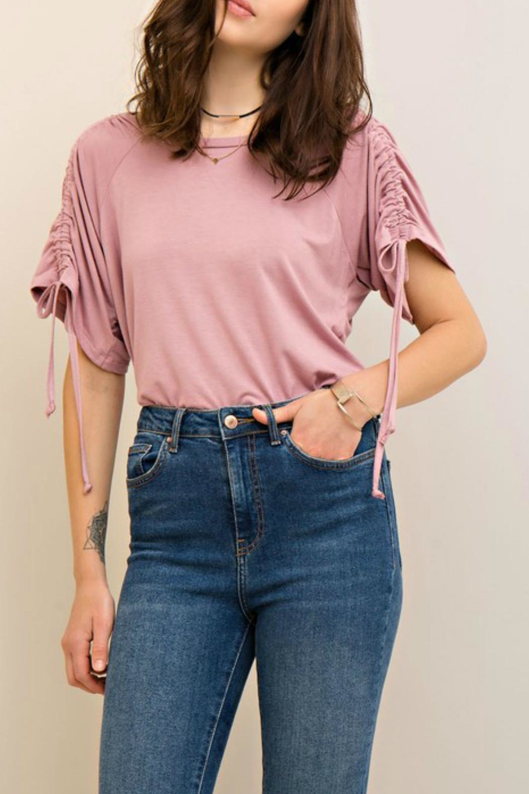 Entro Drawstring Gather Top - Front Cropped Image