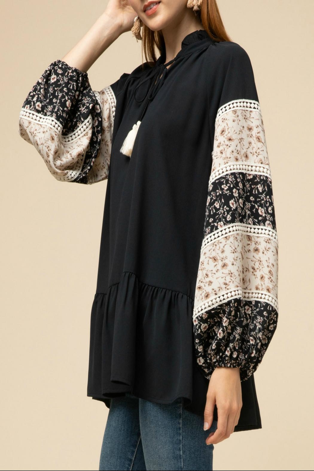 Entro Drop-Waist Peasant Top - Side Cropped Image