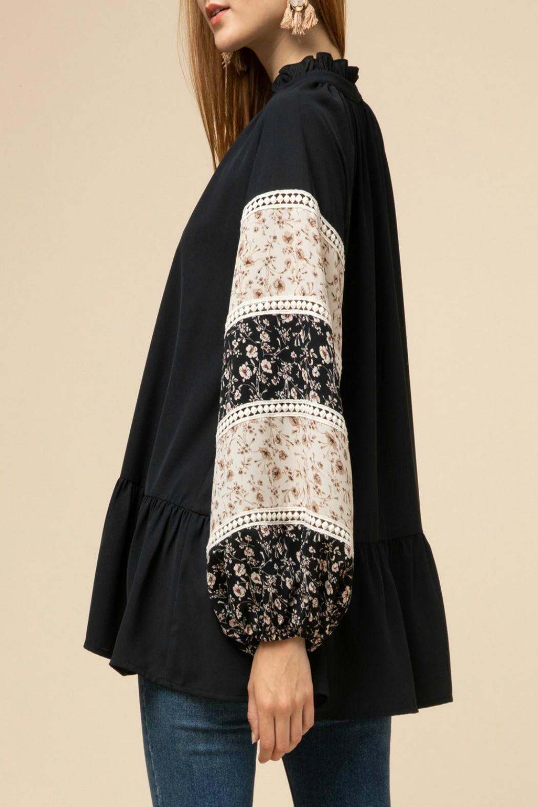 Entro Drop-Waist Peasant Top - Back Cropped Image
