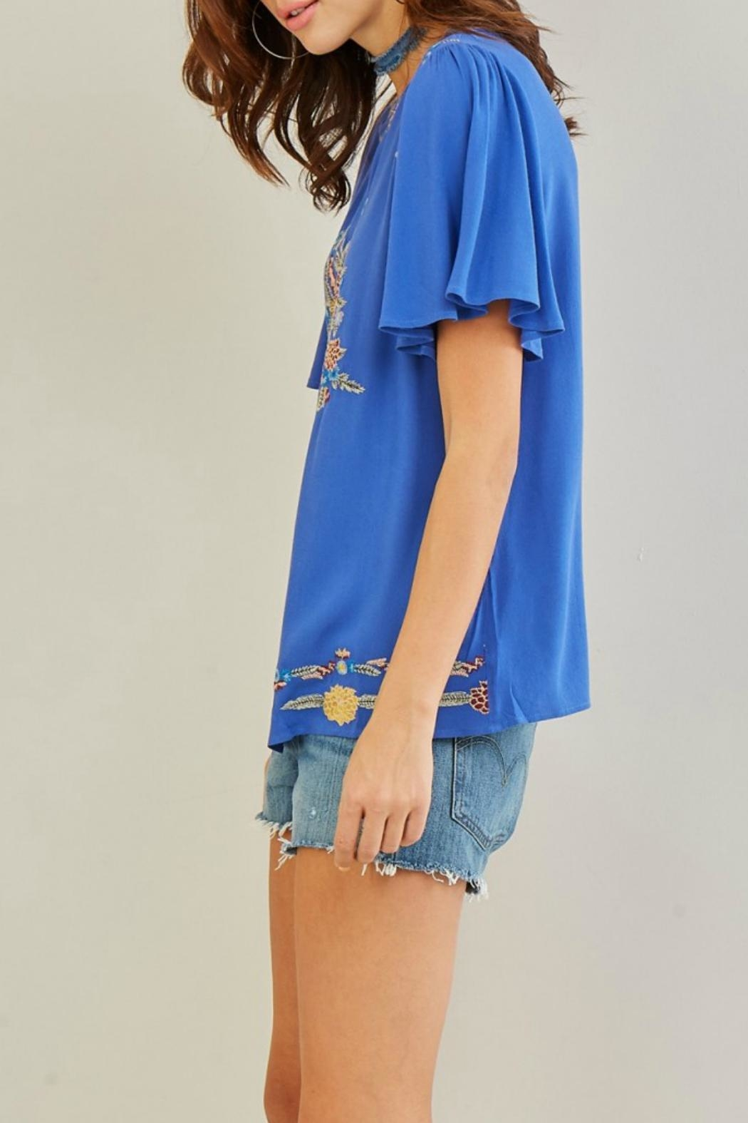 Entro Embroidered Floral Top - Back Cropped Image
