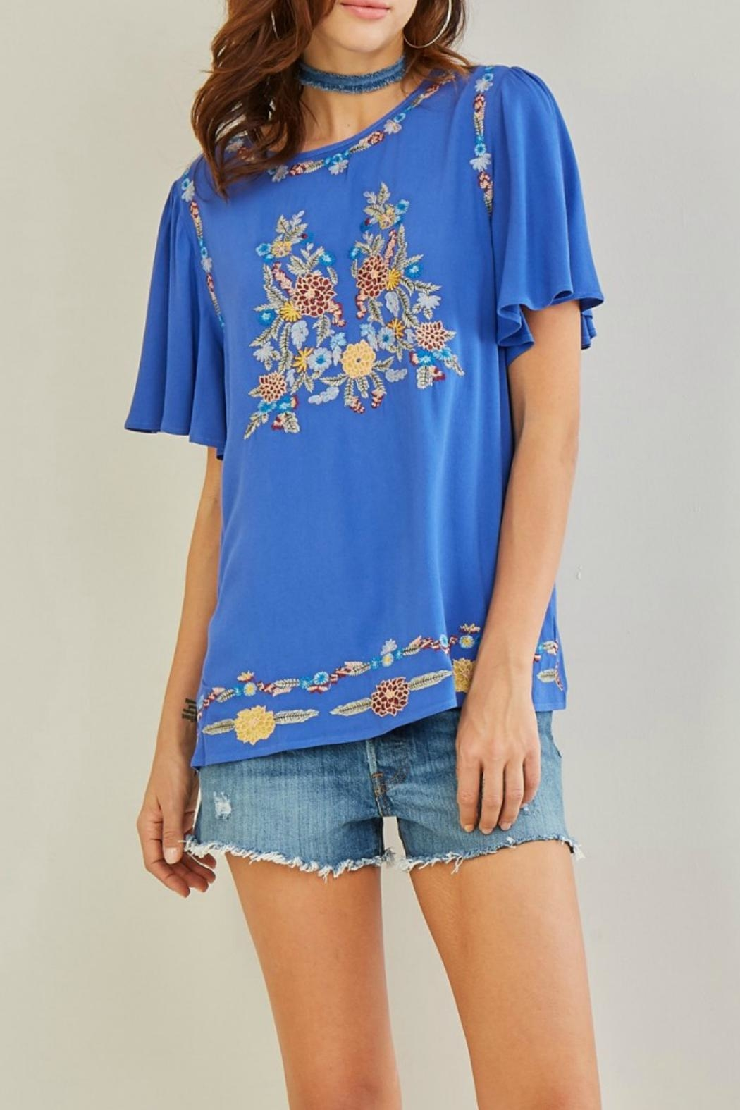 Entro Embroidered Floral Top - Main Image