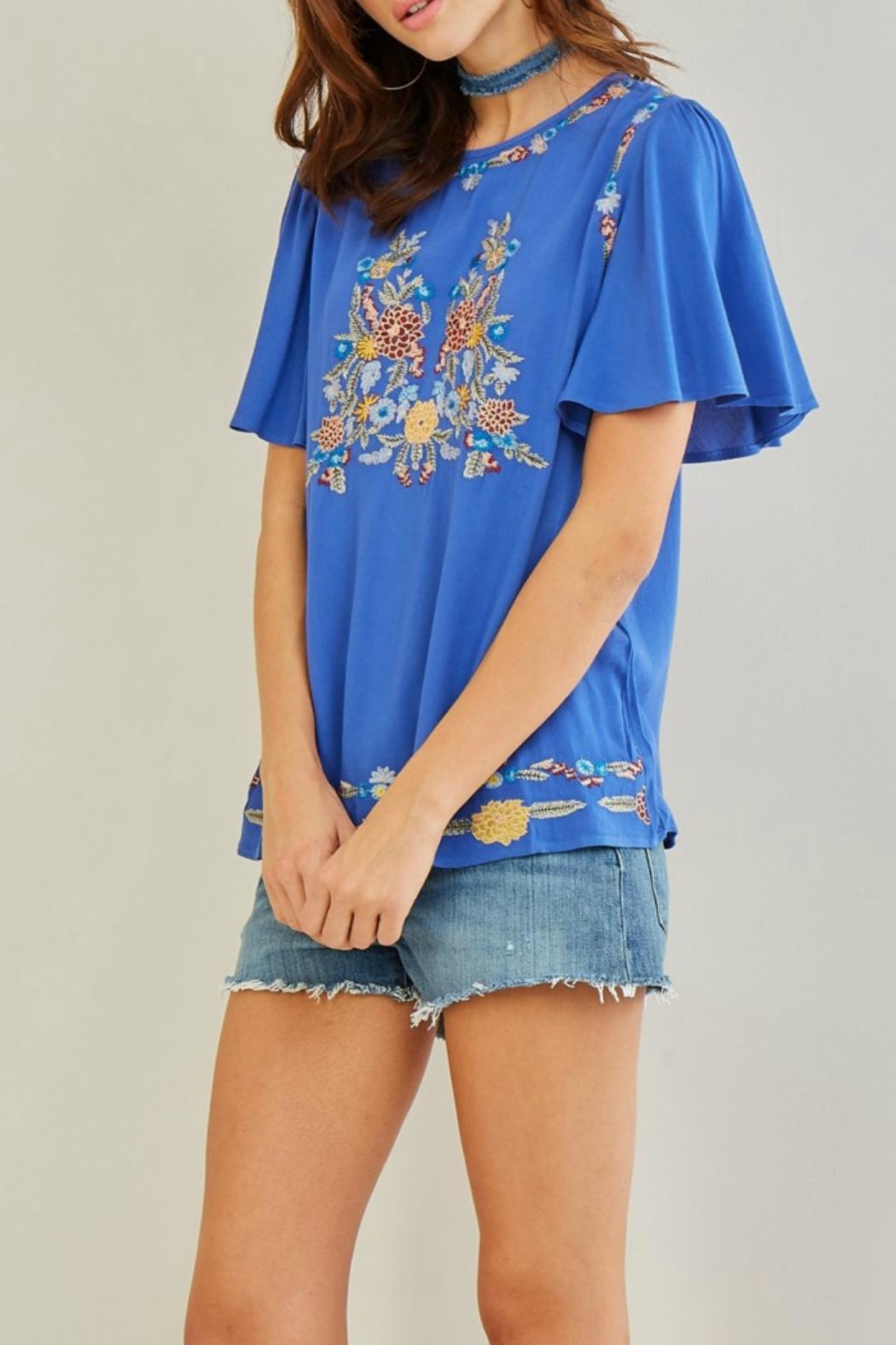 Entro Embroidered Floral Top - Side Cropped Image