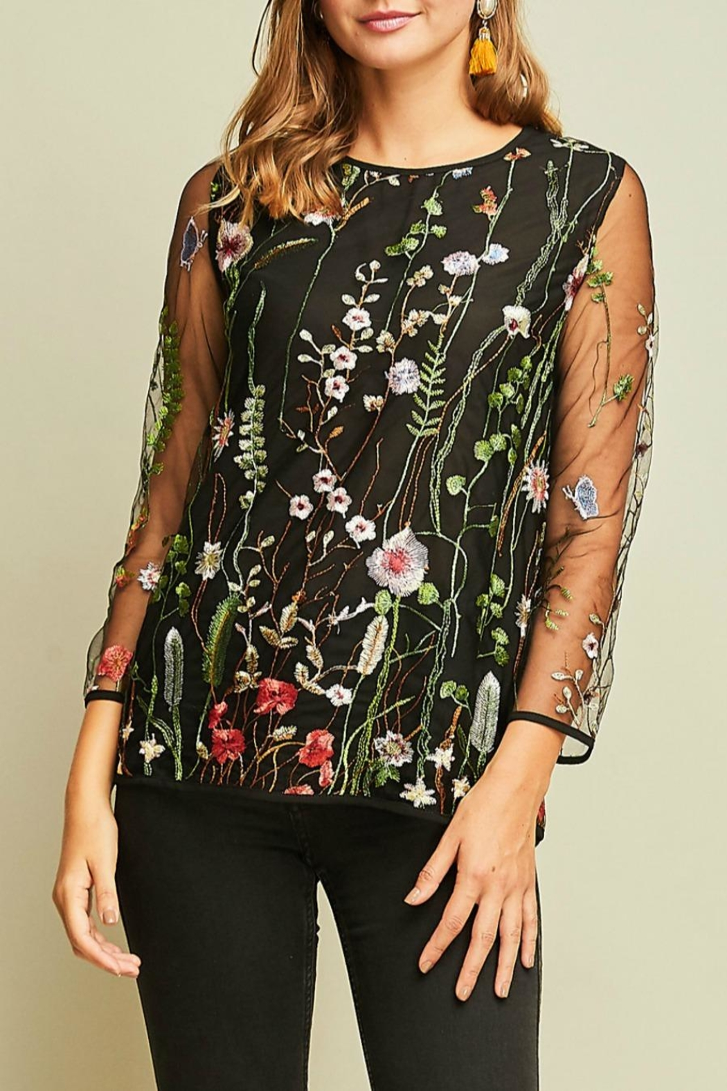 Entro Embroidered Scoop-Neck Top - Main Image