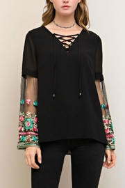 Entro Embroidered Sleeves Top - Product Mini Image
