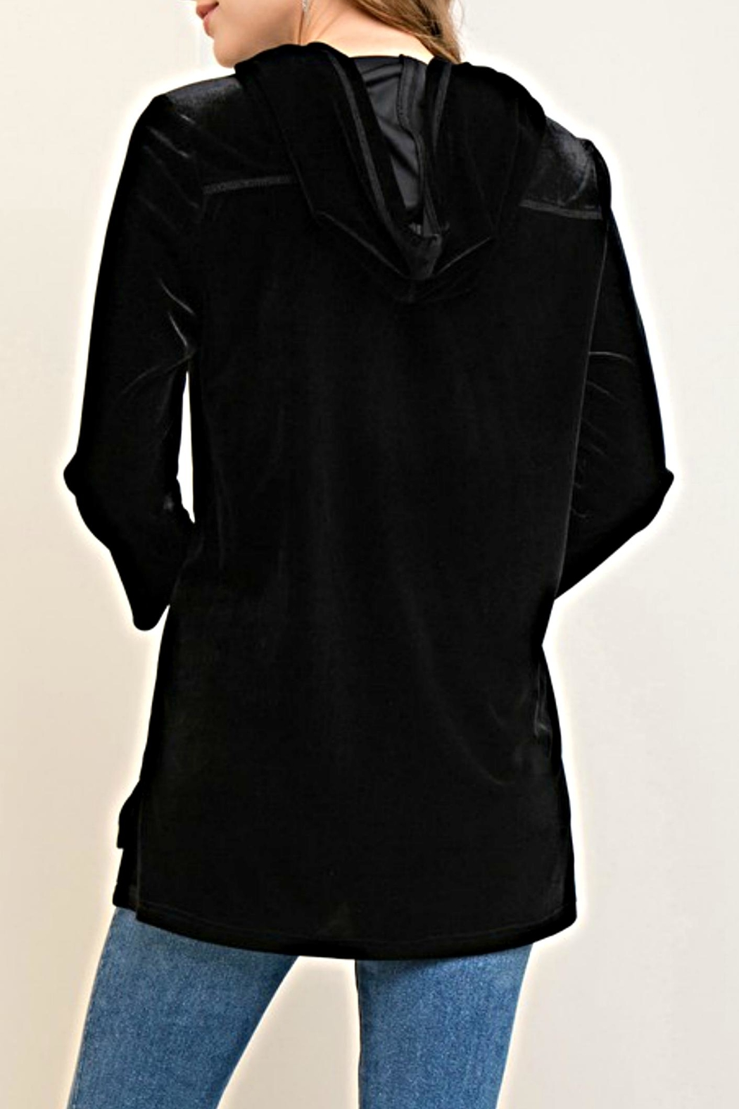 Entro Embroidered Velvet Hoodie - Front Full Image