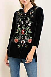 Entro Embroidered Velvet Hoodie - Front cropped