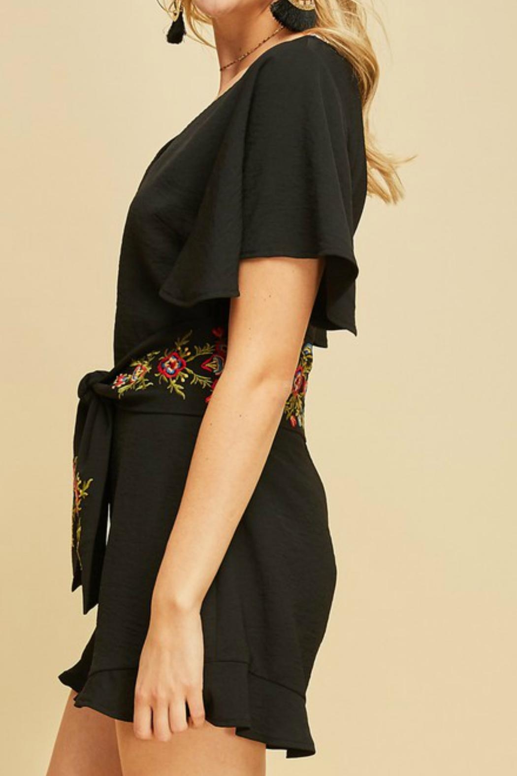 Entro Embroidered Waist Romper - Front Full Image