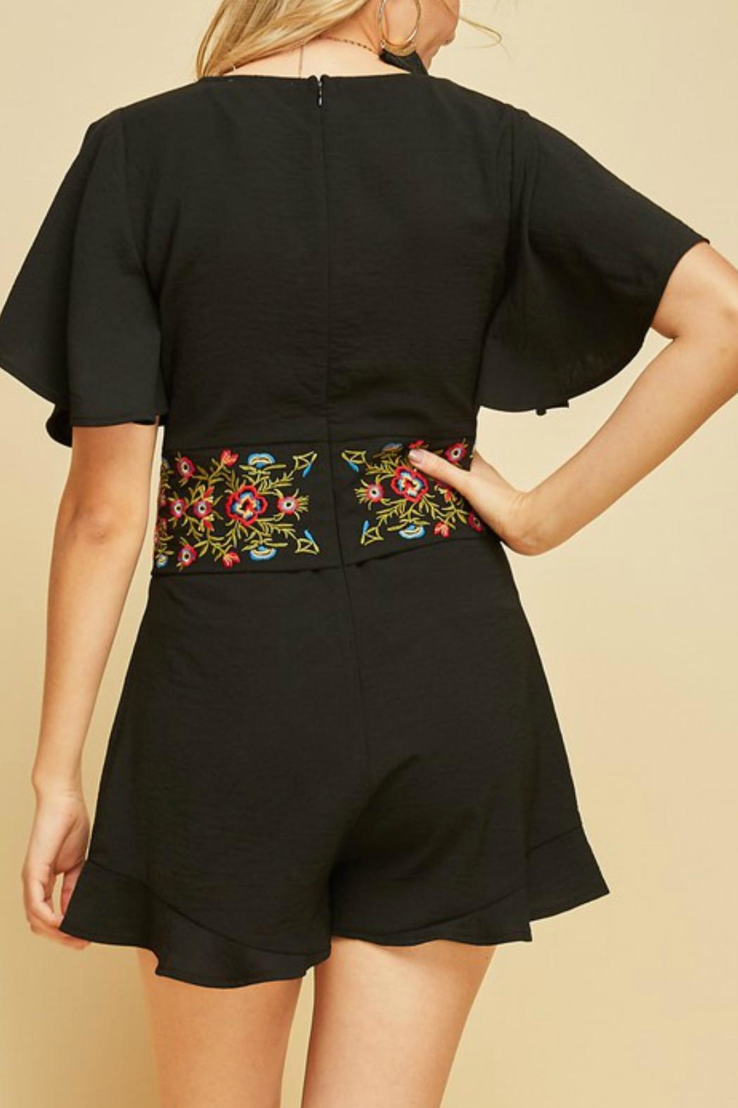 Entro Embroidered Waist Romper - Side Cropped Image